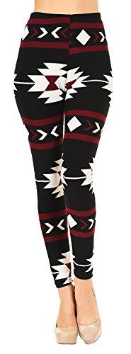 VIV Collection Printed Leggings (Navajo Crimson Black)