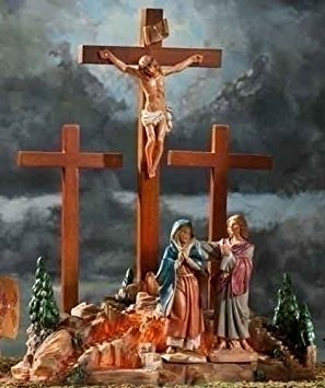 Life of Christ Fontanini Depicts The Crucifixion Scene and The Crucifix Cross, 13.75-Inch
