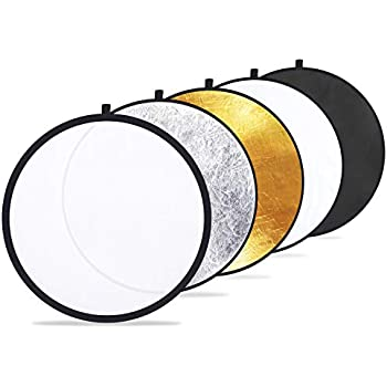 SUPON 12 30cm 2-in-1 Collapsible Multi Disc Photography Portable Handheld Triangle Light Reflector Silver//Gold