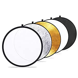 """Etekcity 24"""" (60cm) 5-in-1 Portable Collapsible Multi-Disc Photography Light Photo Reflector for Studio/Outdoor Lighting with Bag - Translucent, Silver, Gold, White and Black"""
