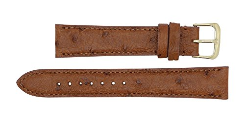 22mm Cognac Genuine Ostrich - Padded Stitched – Factory Direct - Replacement Watch Strap Band - Gold & Silver Buckles Included –Made in The USA by Real Leather Creations FBA143 by Real Leather Creations (Image #2)