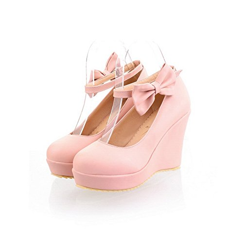 37 Pompe Dell'inarcamento Punta scarpe Rosa Arrotondata Materiale Donne Chiusa Tacchi Morbido Weipoot PBTqw8w