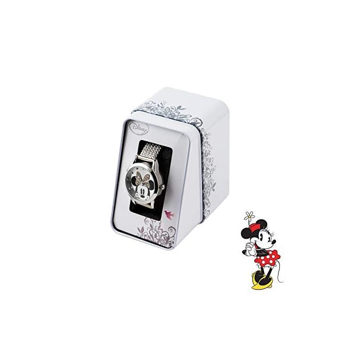 414r4SXzBTL Reloj de Minnie Mouse para adultos Esfera de 30 mm Correa de malla de metal plateado