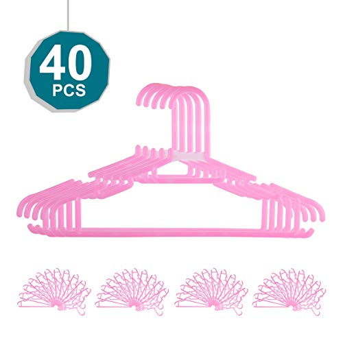 Plastic Childrens Hangers, 11.4 Inch kids plastic hangers - Durable,Non Slip & Space Saving Small Clothes Hangers for Baby,Kids and Nursery 0-8 Years Old Pack of 40 (Pink)