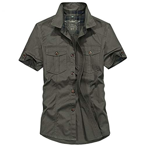 T-Shirts for Men Solid Button Down Tops Stand Collar Short Sleeve Pockets Simple Casual Shirt Pullover Army Green