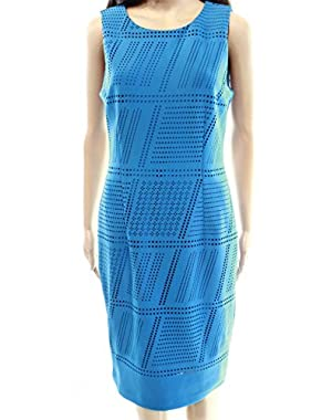 Calvin Klein Women's Sheath Perforated Solid Dress Blue 12