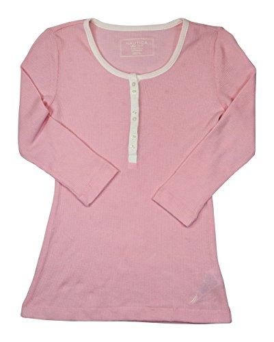 Nautica Waffle Textured Henley Sleepwear Top (X-Small, Fairytale Pink)
