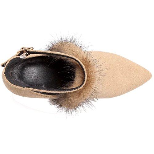 Aiyoumei Femmes Bloc Talon Bout Pointu Bottines Automne Hiver Cheville Bottes Avec Fourrure Et Boucle Abricot