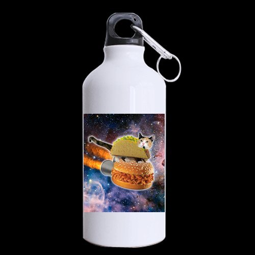 Halloween's Day/Easter Day Gifts Funny Hamburger Cat In Galaxy Space 100% Aluminum 13.5 OZ Sports Bottles ()