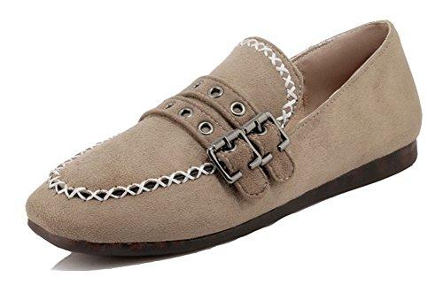 Aisun Chaussures À Bouts Carrés Pour Femmes - Sangle À Boucles Pour Conduire Des Voitures - Confort Slip Coupe Basse Sur Abricot