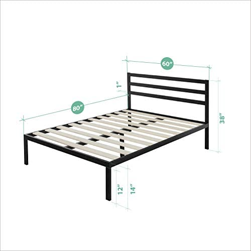 Zinus Mia Modern Studio 14 Inch Platform 1500H Metal Bed Frame With Headboard, Queen 414r5MAXLVL