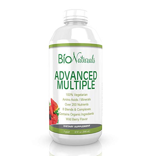 Liquid Multivitamin for Men & Women – 100% Natural & Vegetarian Whole Food Supplement with Organic Extracts – 200+ Nutrients, Vitamins A B C D3 E, CoQ10, Antioxidants, Amino Acids, Minerals – 32 fl oz