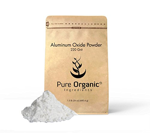 Aluminum Oxide (2 lb (32 oz)) fine powder 220 Grit for Glass etching, Eco-Friendly Packaging (also available in 8 oz) by Pure Organic