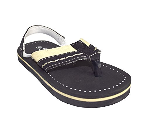Peach Couture Toddler Boys Fun Stitched Summer Sandal with Elastic Securing Strap (Black 6)