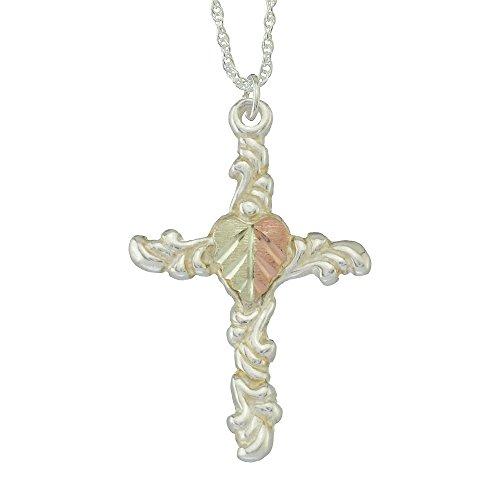 925 Sterling Silver Black Hills Cross Pendant with 12k Split Leaf