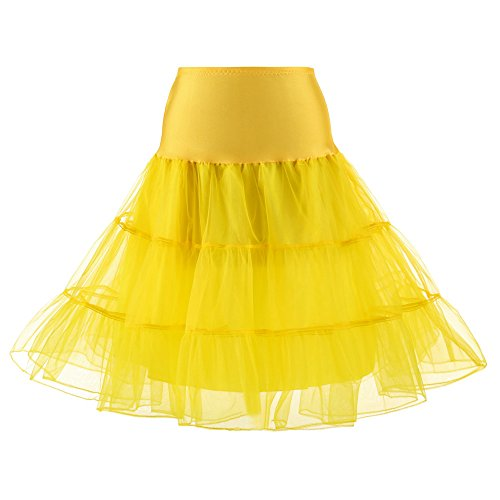 iTLOTL Womens High Waist Pleated Short Skirt Adult Tutu Dancing Skirt(Yellow,S)