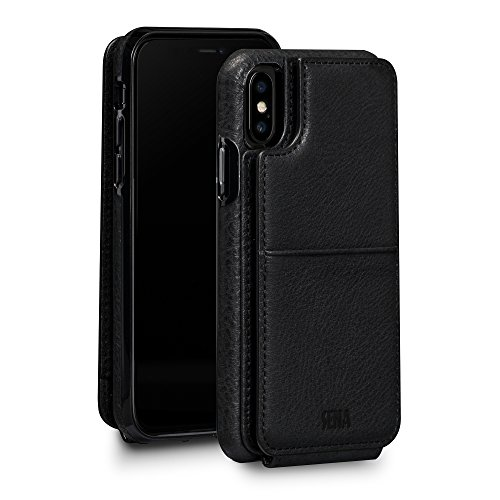 - Sena Wallet Skin - Drop Protection Genuine Leather Bifold Wallet Card Holder Case For Iphone X Xs - Black
