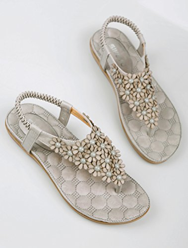 Vogstyle Mujeres Sandalias Verano Estilo Étnico Playa Zapatos Bohemio Sandalias Punta Abierta Deslizadores Verano Boho Chic Zapatillas ZMY002 Estilo 8 Gris