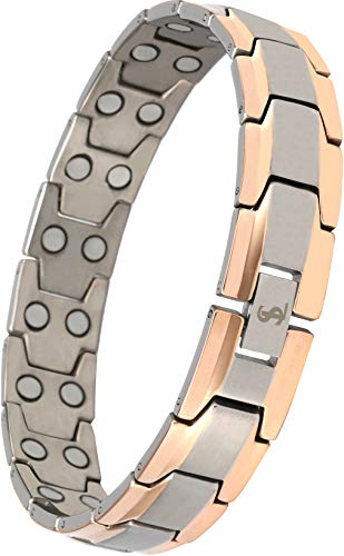 Black Gold Silver Bracelets - Elegant Men's Double Magnet Wide Titanium Magnetic Therapy Bracelet Pain Relief for Arthritis and Carpal Tunnel (Silver & Rose Gold)