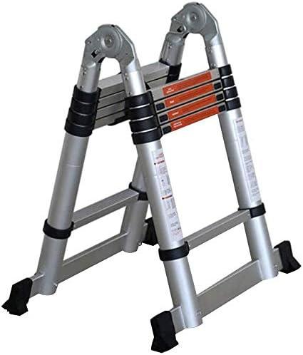 Escalera plegable de aluminio con almohadilla de protección para los dedos para familias, loft, oficina, QIQIDEDIAN, 1.9+1.9=straight ladder 3.8: Amazon.es: Hogar