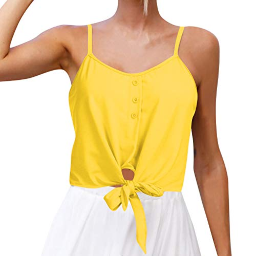 0d64c87dde3bc NUWFOR Women s Summer Casual Solid Sleeveless Design Buttons Shirt Tank Top  Blouse(Yellow