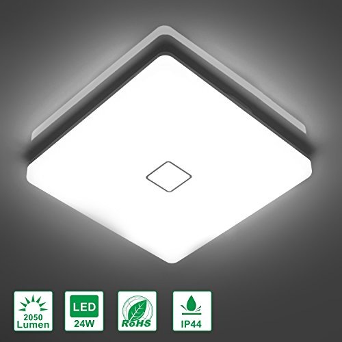 Airand 5000K LED Ceiling Light Flush Mount 24W 12.6in Square LED Ceiling Lamp for Kitchen Bathroom Hallway with 240Pcs LED Chips Without Flicker, 2050LM, IP44, 80Ra+, 180W Equivalent (Daylight White)