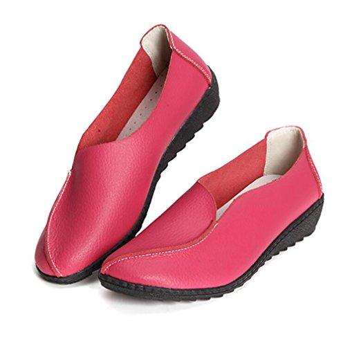 Pink UK7 Zapatos Zapatos Blue Casual Piel Pisos CN41 SHANGXIAN Otoño Mamá EU40 Sencillo Zapatos US9 Cómodo Genuina xRAa6q4wF