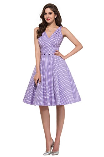 Women Purple Polka Dots Bow Belt Sleeveless Sweet Vintage Dresses (S)