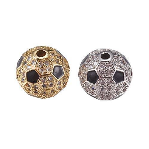 PandaHall Brass Micro Pave Cubic Zirconia Beads for Jewelry Making, with Enamel, Round, Black & Clear, Mixed Color, 9.5mm, Hole: 1mm (Black Zirconia Enamel Cubic)