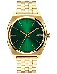 Time Teller A0451919-00. Gold and Green Women's Watch (37mm. Gold Metal Band/Green Sunray Watch Face)