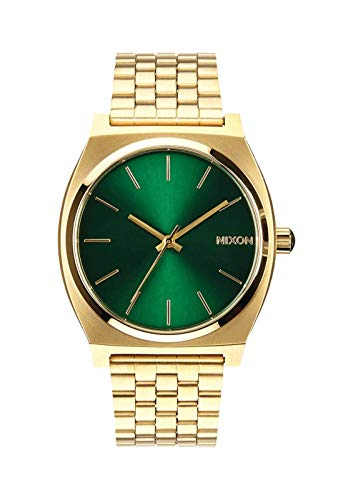 NIXON Time Teller A052 - Gold/Green Sunray - 107M Water Resistant Men's Analog Fashion Watch (37mm Watch Face, 19.5mm-18mm Stainless Steel Band)