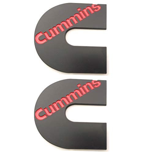 2pcs Cummins logo 3D badge Stickers Emblems Door Tailgates Nameplate Letter Fender Decals (Black Red)