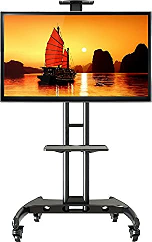 North Bayou Universal Mobile TV Cart TV Stand with Mount for LED LCD Plasma Flat Panel Screens and Displays 32'' to 65 inch up to 100 lbs AVA1500-60-1P Black with 1 middle AV Shelf and 1 top Shelf