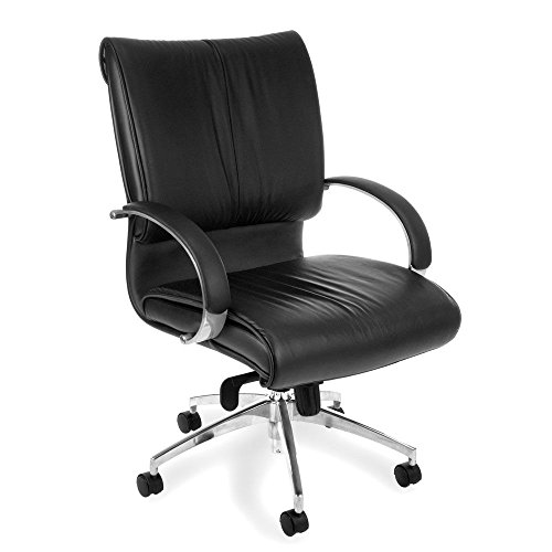 - Sharp Series Mid-Back Leather Chair Black Leather Seat & Back/Polished Aluminum Frame Dimensions: 25.5
