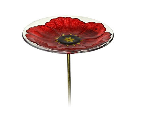 Evergreen Ruby Pansy Glass Bird Bath Bowl with Metal Stake - 11.25