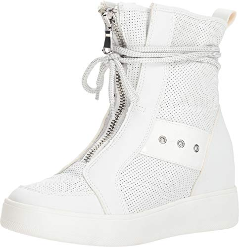 (Steve Madden Women's Anton Wedge Sneaker White Leather 5.5 M US)