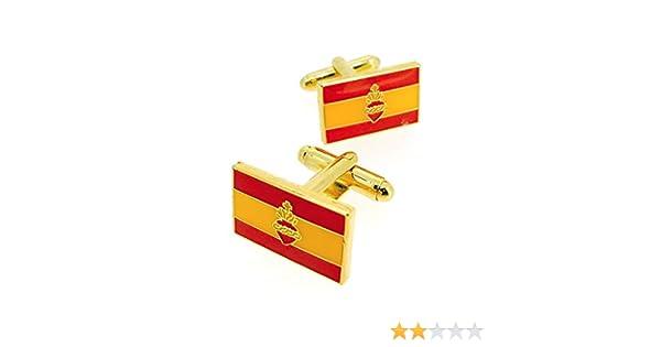 Gemelos para Camisa Bandera de España con Sagrado Corazon: Amazon.es: Ropa y accesorios