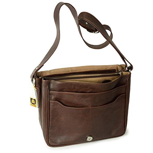 Damen Handtasche Größe M / Umhängetasche im Retro-Look aus Nappa-Leder, Schwarz, Hamosons 577 Kastanien-Braun