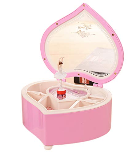 Amperer Ballerina Musical Box Heart Shaped Jewelry Music Box with Rotating Dancer Ballerina Fairy Girl Best Birthday (B2 Pink)