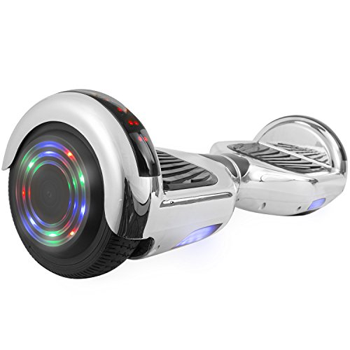 "OTTO Hoverboard UL Certified C1 Plus Smart Electric Self Balancing Scooter with LED Lights Flash Light Wheels and Bluetooth Speaker Dual 250W Motors 220LB Max Loaded(6.5"",Silver)"