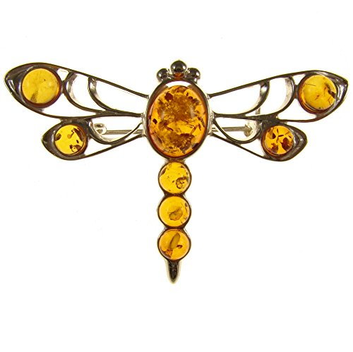 (BALTIC AMBER AND STERLING SILVER 925 DESIGNER COGNAC DRAGONFLY BROOCH PIN JEWELLERY)
