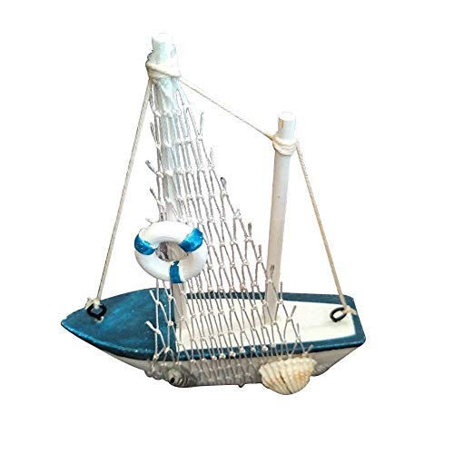 (Wicemoon Miniature Sailboat Model Wooden Sailing Boat Navy Blue and White with Lifebuoy Home Decor (R))