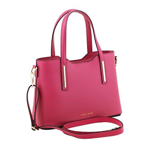 81415214 - TUSCANY LEATHER: OLIMPIA - Shopper Tasche aus Leder - Klein, Magenta