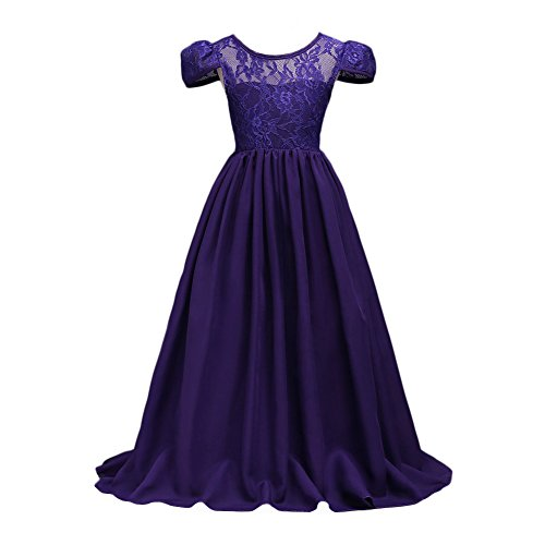 Glamulice Big Girls Lace Chiffon Floor Length Dress Flower Girl Party Dresses Bridesmaid Dance (Halloween Ball Gowns)