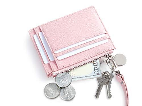 SERMAN BRANDS Slim Wristlet Card Case Holder Small RFID Blocking Wallet Change Purse for Women Keychain - Removable Wristlet Strap (Lush CH)