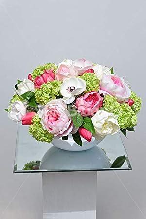 Silk Blooms Ltd - Arreglo Floral de peonía Rosa Artificial y Bola de Nieve Verde con pecera Blanca: Amazon.es: Hogar