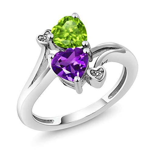 Gem Stone King 1.51 Ct Heart Shape Green Peridot Purple Amethyst 925 Sterling Silver Ring (Size 9) ()