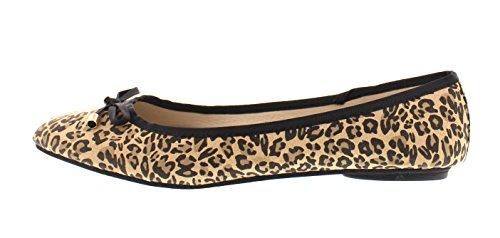 Gold Toe Womens Ashanti Brown Leopard Print Pointy Toe Ballet Flat No Heel Casual Dress Pump Slipon Shoe Leopard With Bow nbwOomc