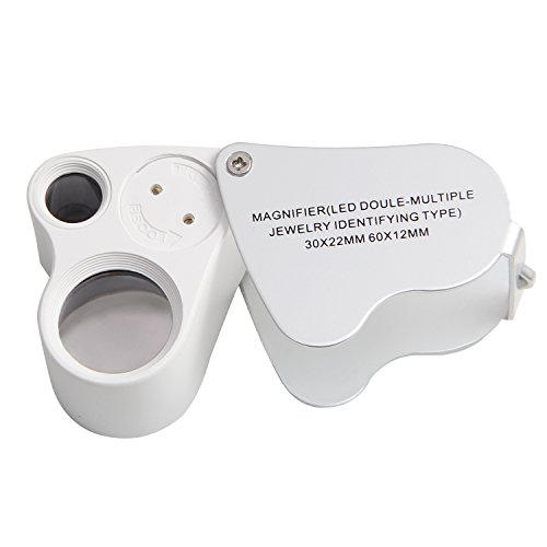 Toch Dual Lens 60X 30X 2in1 Pocket Microscope Magnifier Loop Magnifying Glass Jewelers Eye Loupe Lens with LED