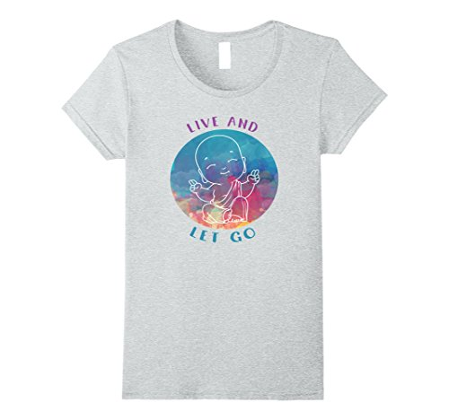[Womens Live And Let Go - Spiritual Pastel Buddha T-Shirt Large Heather Grey] (Buddha Fitted T-shirt)